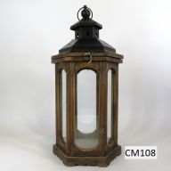 "Wood And Metal Lantern 7.5 X 7.5 X 19"" - Stained (SHIPS BY PALLET ONLY)"