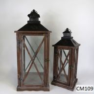 "Set Of 2 Wood And Metal Lantern 10.2 X 10.2 X 25"" - Dark Stain (SHIPS BY PALLET ONLY)"