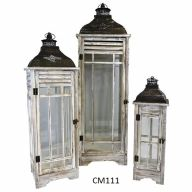 "Set Of 3 Wood And Metal Lantern L-13.25 X 13 X 43.25"", S-7.7 X 7.5 X 23.5"" - Whitewash"