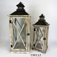 "Set Of 2 Wood And Metal Lantern 10.2 X 10.2 X 25"" - Natural (SHIPS BY PALLET ONLY)"