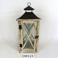 "Wood And Metal Lantern 7.5 X 7.5 X 19"" - Light Stain (SHIPS BY PALLET ONLY)"
