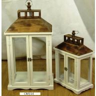 "Set Of 2 Wood Lantern L-10.25 X 10.25 X 24.75"", S-7.5 X 7.5 X 17"" - Cream Wood w/ Brown Metal Top (SHIPS BY PALLET ONLY)"