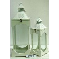 """Set Of 2 Wood And Metal Lantern L-10 X 10 X 23.75"""", S-7 X 7 X 16.5"""" - White Bottom / White Top (SHIPS BY PALLET ONLY)"""