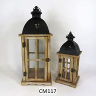 "Set Of 2 Wood And Metal Lantern L-8.75 X 8.75 X 21.5"", S-6 X 6 X 15"" - Whitewash Bottom / Black Top (SHIPS BY PALLET ONLY)"