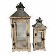 S/2 Wood & Metal Lantern L-22X22X55, S-14.5X14.5X38 (SHIPS BY PALLET ONLY)