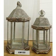 S/2 Lantern L-9.5X9.5X21, S-6.75X6.75X14.5 (SHIPS BY PALLET ONLY)