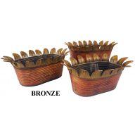 S / 3 Metal Oval Planter W / Split Leaf - Bronze