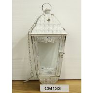 "7.9"" X 7.9"" X 16.5"" Hanging Metal Lantern (SHIPS BY PALLET ONLY) - Antique White"