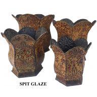 S / 4 Round Metal Planter W / Liner - Spit Glaze
