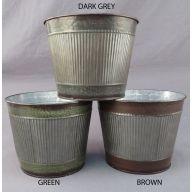 "6.4 x 7.5 "" DIA Round Planter w / Liner S / 3 Assortment ( Brown / Green / Dark Grey )"