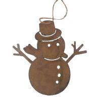 "6 x 6 "" Metal Snowman - Galvanized Bronze"