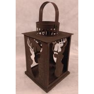 "Metal Lantern Deer Pattern 6.76 "" X 6.75 "" X 10.6.25 """