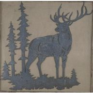 Metal Deer Plaque 14 X 13.57