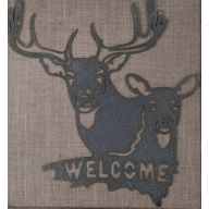 """Metal Deer Head Welcome Plaque 12.75 X 14 """""""
