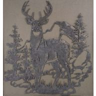 """Metal Deer / Tree Plaque 9.34 X 10 """""""