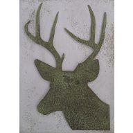 """Metal Deer Head With Horns 10 X 6.34 """""""