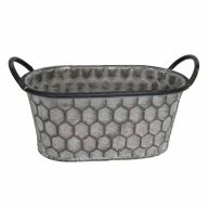 "11"" X 5.75"" X 5.25"" Oval Planter w/ Handle w/ PVC Liner - Greywash"