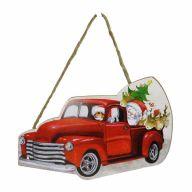 "10.25"" X 6.75"" X 0.25"" MDF Christmas Truck w/ Santa Sign w/ Rope"