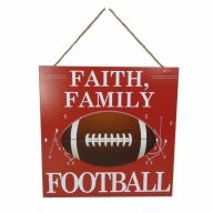 "12"" X 12"" MDF ""Faith Family Football"" Sign - Red / White"