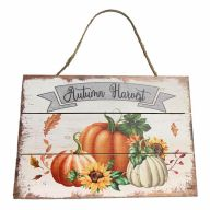 Wooden Sign With Rope Autumn Harvest 12X8