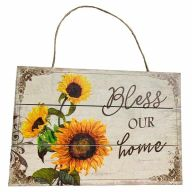 Wooden Sign With Rope Bless Our Home 12X8