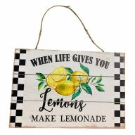 Wooden Sign With Rope  When Life Gives You Lemons Make Lemonade 12X8