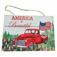 Wooden Sign With Rope  America The Beautiful 12X8