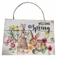 Wooden Sign With Rope Welcome Spring W/Rabbits 12X8
