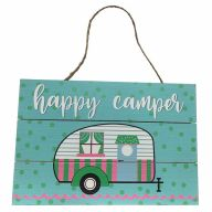 Wooden Sign With Rope Happy Camper 12X8