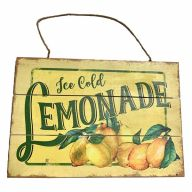 Wooden Sign With Rope  Ice Cold Lemonade 12X8