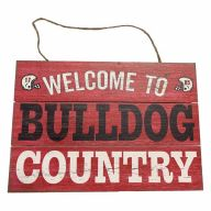 Wooden Sign With Rope Welcome To Bulldog Country 12X8
