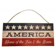 Mdf Sign With Rope American Home Of The Free & The Brave 12X5