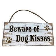 Mdf Sign With Rope Beware Of Dog Kisses 12X5