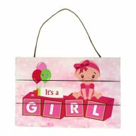 Wooden Sign With Rope It's A Girl 12X8