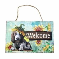 Wooden Sign With Rope Welcome W/ Dog 12X8