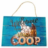 """12"""" X 8"""" Wooden """"Welcome To Our Chicken Coop"""" w/ Chicken Wall Sign w/ Rope - Blue"""