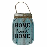 "8"" X 12"" MDF ""Home Sweet Home"" Mason Jar Sign w/ Rope - Blue / Black / Natural"