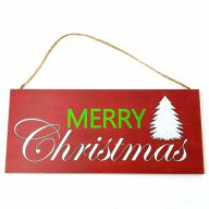 """12"""" X 5.25"""" MDF Sign Paper Print Merry Christmas / Tree -Red / Green / White"""