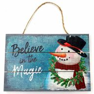 """12"""" X 8"""" Solid Wood UV Print """"Believe In The Magic"""" - Blue / White / Green / Red / Black"""