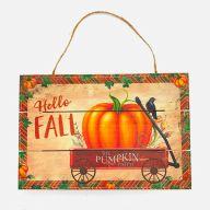 "12"" X 8"" Solid Wood UV Print ""Hello Fall"" Pumpkin / Wagon - Orange / Burgundy / Green"