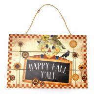 "12"" X 8"" Solid Wood UV Print ""Happy Fall Yall"" Scarecrow - Cream / Orange / Black / Yellow / Blue"