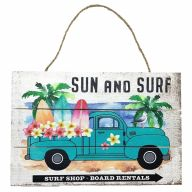 "12"" X 8"" Wooden Sign With Rope ""Sun And Surf"""