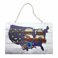 "12"" X 8"" Wooden Sign With Rope United States Blue ""USA"""