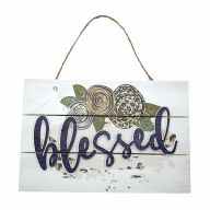 "12"" X 8"" Wooden Sign With Rope ""Blessed"" Floral"