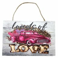 "12"" X 8"" Wooden Sign With Rope ""Loads Of Love"" Truck"