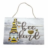 """12"""" X 8"""" Wooden Sign With Rope """"Bee Kind"""" Gnomies And Bee"""