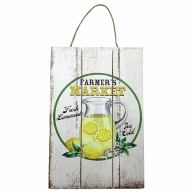 "8"" X 12"" Wooden Sign With Rope ""Farmers Market Fresh Lemonade Ice Cold"""