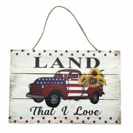 "12"" X 8"" Wooden Sign With Rope ""Land That I Love"" Truck Sunflowers"