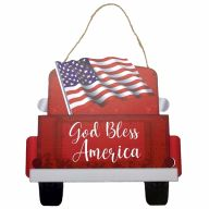 "12"" X 8"" Wooden Sign With Rope Red Truck American Flag"