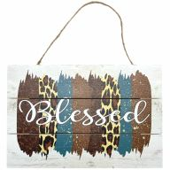 "12"" X 8"" Wooden Sign With Rope ""Blessed"" Multi Pattern Background"
